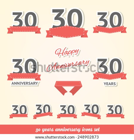 30 years anniversary icons collection - stock vector