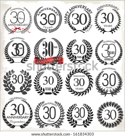 30 years anniversary laurel wreath, set - stock vector