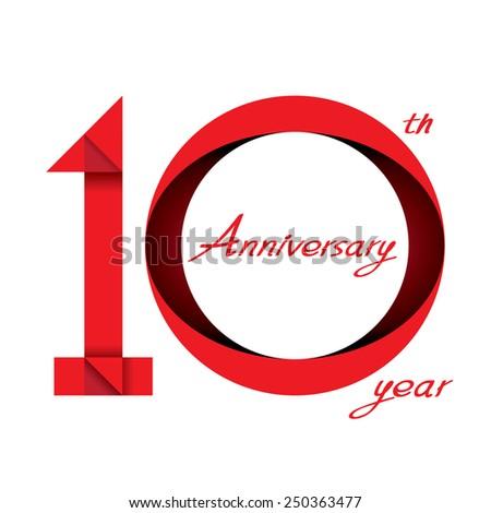 10 years anniversary ribbon, vector illustration - stock vector