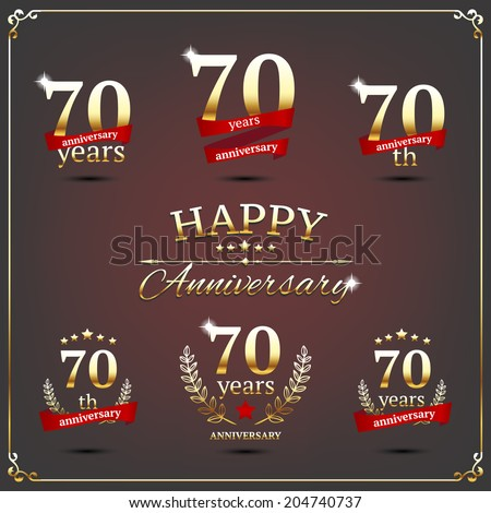 70 years anniversary signs collection - stock vector