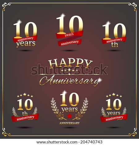10 years anniversary signs collection - stock vector