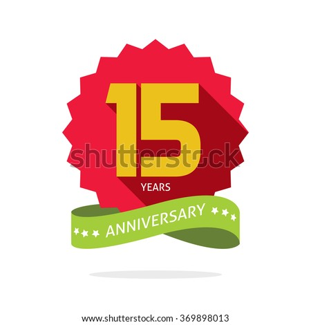 15 years anniversary vector label logo, shadow on circle, number 15 (one five), 15th years anniversary icon. Fifteen birthday party symbol. Fifteenth promotion sale sticker ribbon, poster, emblem - stock vector