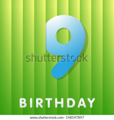 9 years birthday card  - stock vector