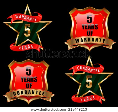 5 years guarantee and warranty badge, guarantee sign, warranty label - vector eps 10 - stock vector
