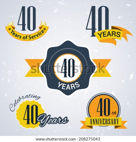 40 years of service/ 40 years / Celebrating 40 years / 40th Anniversary - Set of Retro vector Stamps and Seal for business - stock vector