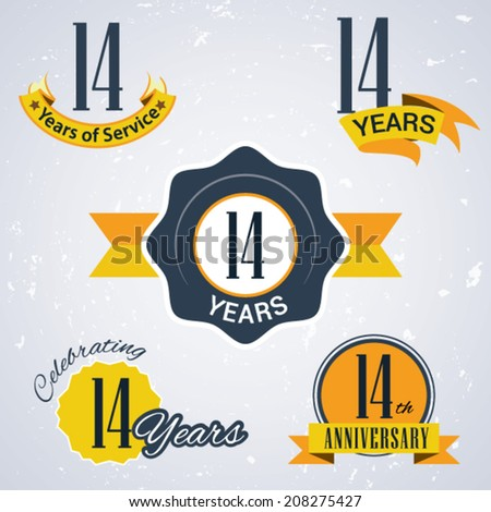14 years of service/ 14 years / Celebrating 14 years / 14th Anniversary - Set of Retro vector Stamps and Seal for business - stock vector