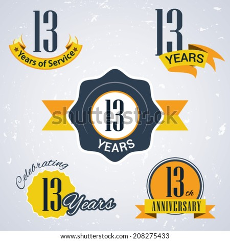 13 years of service/ 13 years / Celebrating 13 years / 13th Anniversary - Set of Retro vector Stamps and Seal for business - stock vector