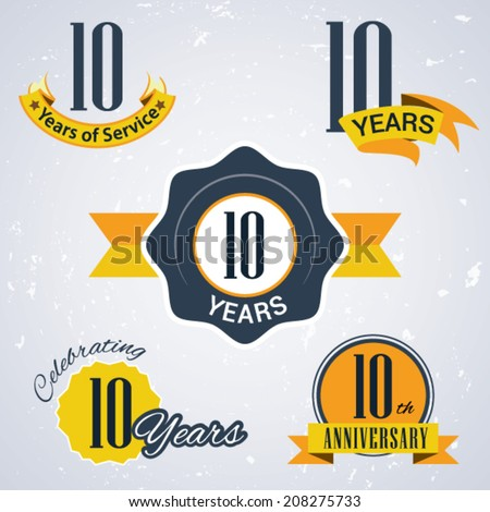 10 years of service/ 10 years / Celebrating 10 years / 10th Anniversary - Set of Retro vector Stamps and Seal for business - stock vector