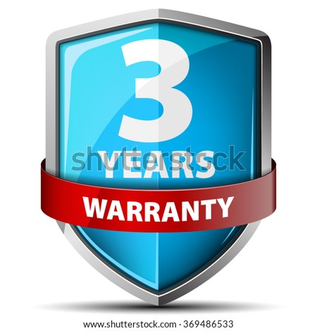 3 years warranty - stock vector