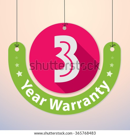 3 years Warranty Colorful Badge, Paper cut-out - stock vector