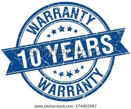 10 years warranty grunge retro blue isolated ribbon stamp - stock vector