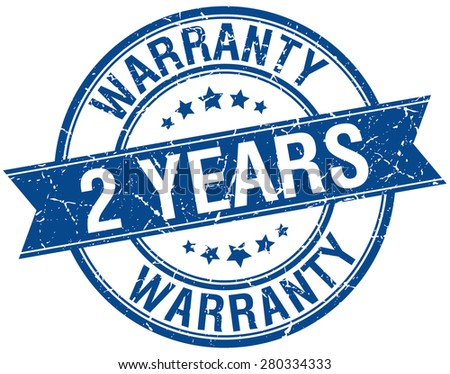 2 years warranty grunge retro blue isolated ribbon stamp - stock vector
