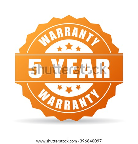 5 years warranty icon isolated on white background - stock vector