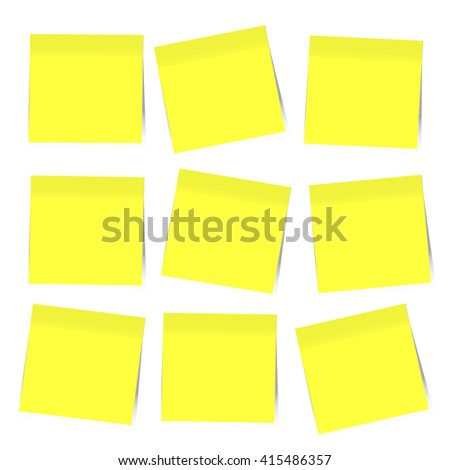 9 Yellow sticky notes isolated on white background, Vector illustration. - stock vector