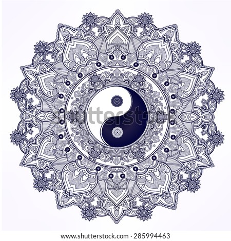 Yin and yang Tao mandala symbol. Round Ornament Pattern. Vector isolated illustration. Paisley background. Vintage decorative oriental symbol of harmony, balance. Tattoo, yoga, spirituality, textiles - stock vector