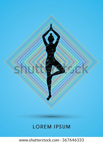 Yoga pose designed using grunge brush on line square background graphic vector. - stock vector