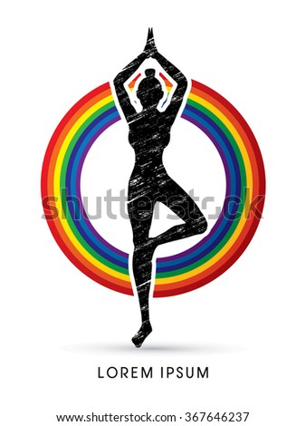Yoga pose designed using grunge brush on rainbows background graphic vector. - stock vector