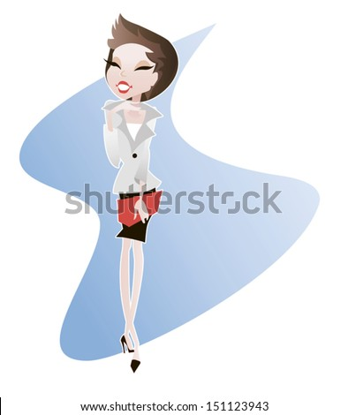 Young attractive girl, office - secretary, which has eastern appearance - stock vector
