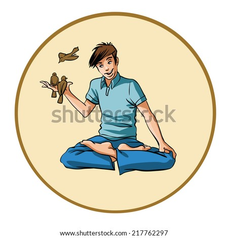 young man with a birds - stock vector