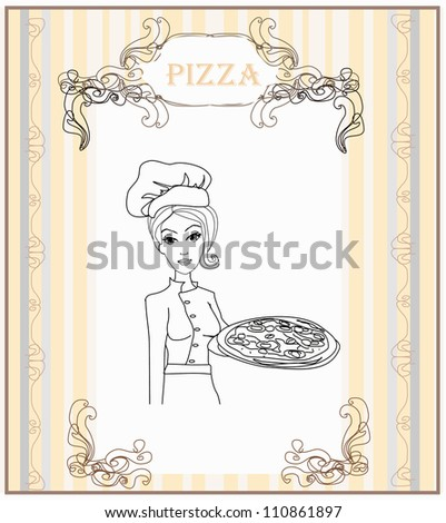 Young waitress with pizza doodle - stock vector