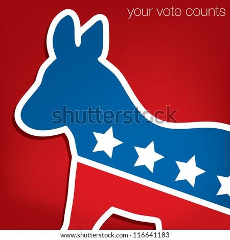 """Your Vote Counts"" Democrat American election card/poster in vector format. - stock vector"
