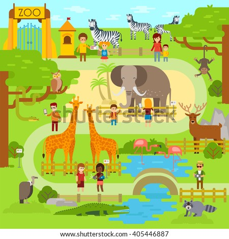 Zoo infographics elements with elephant, giraffe, vulture, crocodile, monkey, deer, zebra and snake. Vector flat illustration. Fanny animals on Zoo - stock vector - stock vector