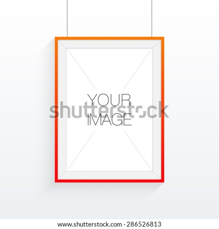 A4 / A3 format frame design with your text or image, hanging on wall and shadow Eps 10 stock vector illustration - stock vector