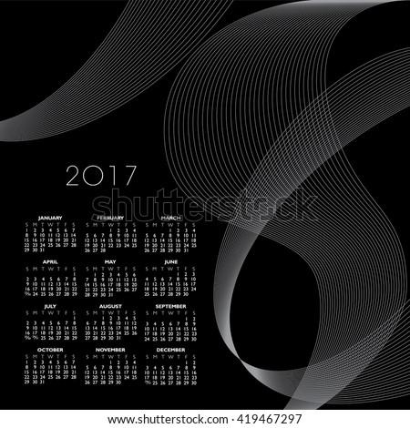 A 2017 abstract wavy line calendar  for print or web  - stock vector