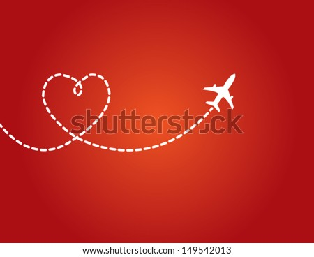 A Airplane flying in the dark red sky leaving behind a love shaped smoke trail - stock vector