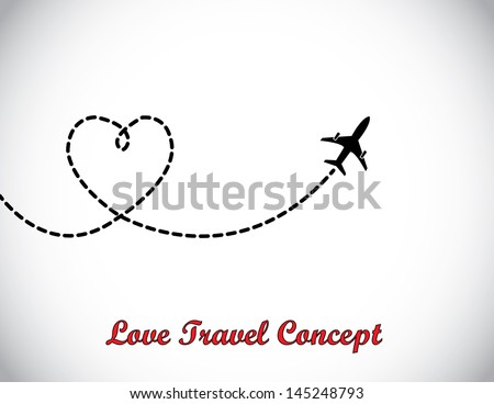 A Airplane flying in the white sky leaving behind a love shaped smoke trail - stock vector