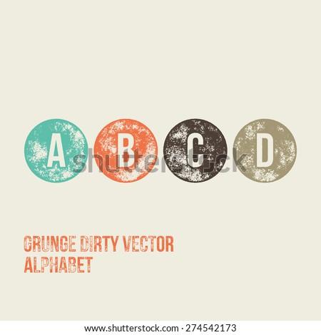 A B C D Grunge Retro Circular Stamp Type - Vector Alphabet - Font - stock vector