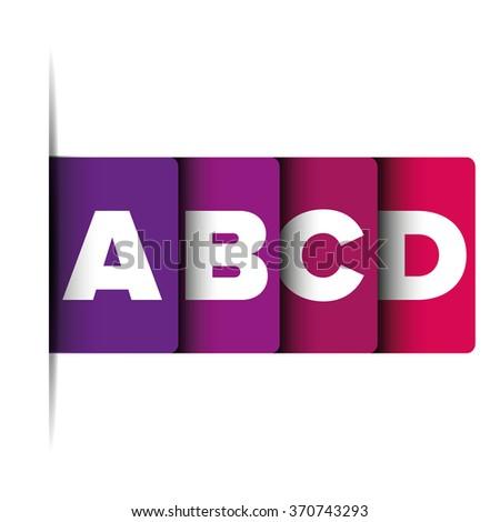 A B C D letter progress bar - stock vector