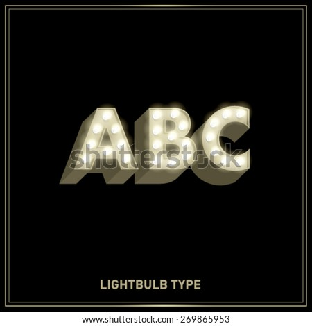 a,b,c lightbulb typeface/font vector/illustration - stock vector