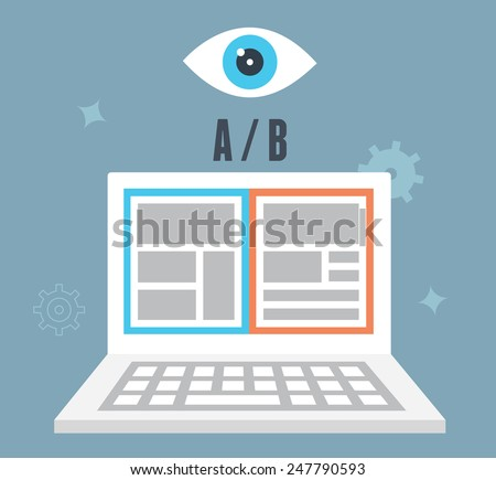 A/B testing optimization of website. Which one converts better. Visitor and user experience - vector illustration - stock vector
