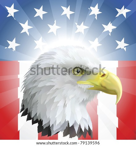 A background featuring American eagle and stars and stripes background - stock vector