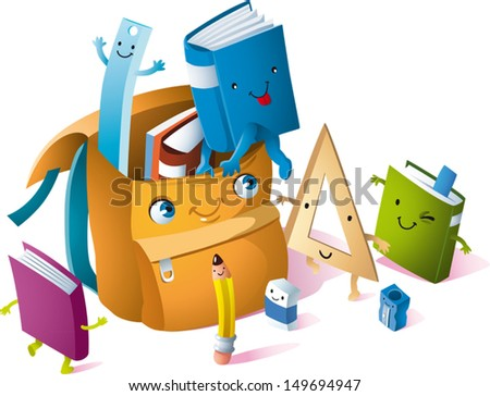 a backpack animated books pencils and notebooks are animated to him to be brought to school. - stock vector