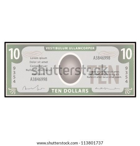 A $10 bank note / paper money. - stock vector