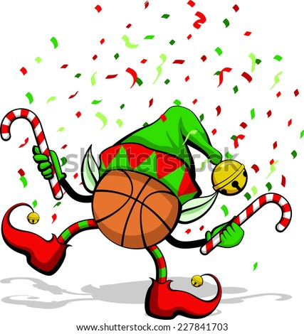 A basketball celebrating Christmas by dancing with candy canes, elf ears, hat and ears, and confetti. - stock vector