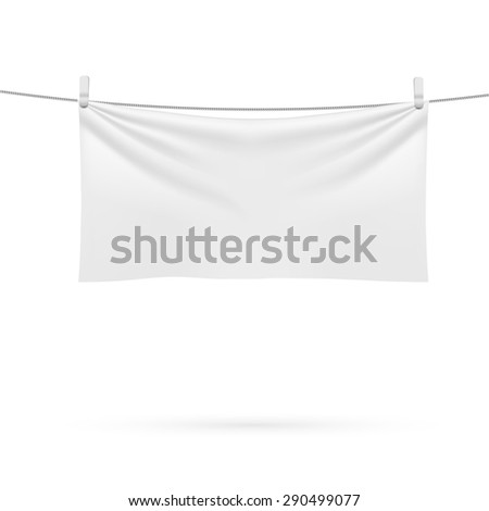 A beach towel hanging on a rope isolated on a white background. - stock vector