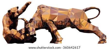 A bear fighting a bull for the concept of financial market conditions, low poly vector illustration. - stock vector