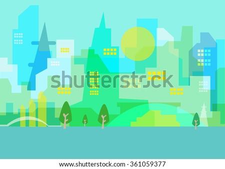 A beautiful Abstract Cityscape Artwork. Editable Clip art. - stock vector