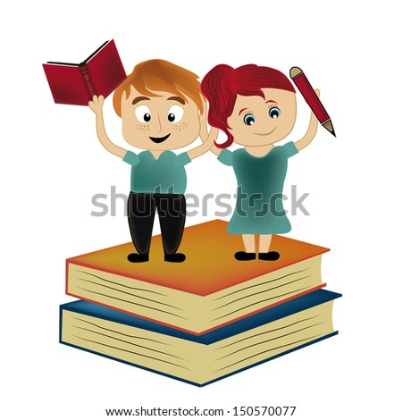 a beautiful couple standing above two big books - stock vector