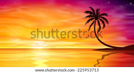 A Beautiful Ocean Sunset, Sunrise with Palm Tree. - Vector EPS 10 - stock vector