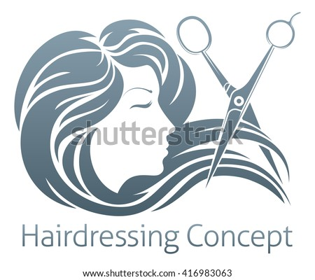 A beautiful woman having her hair cut by hairdresser scissors.  - stock vector