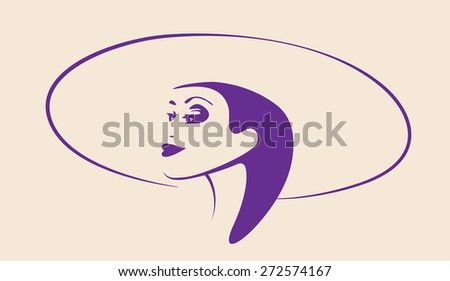 A beautiful woman's face. Ink drawing. - stock vector