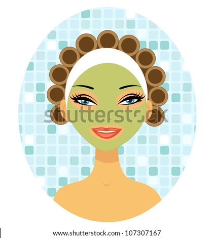 A beautiful woman with hair curlers - stock vector