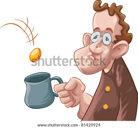 a beggar getting some coin in his mug - stock vector