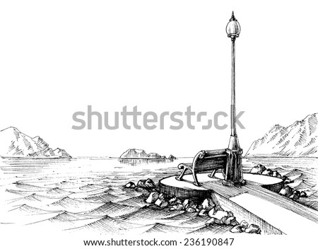 A bench by the sea, seascape sketch - stock vector