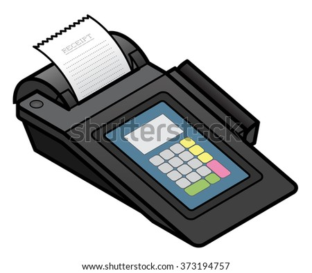 A bench top touchscreen point of sale terminal. With an integrated card swipe scanner and printer. - stock vector