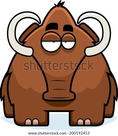 A big brown cartoon woolly mammoth standing. - stock vector